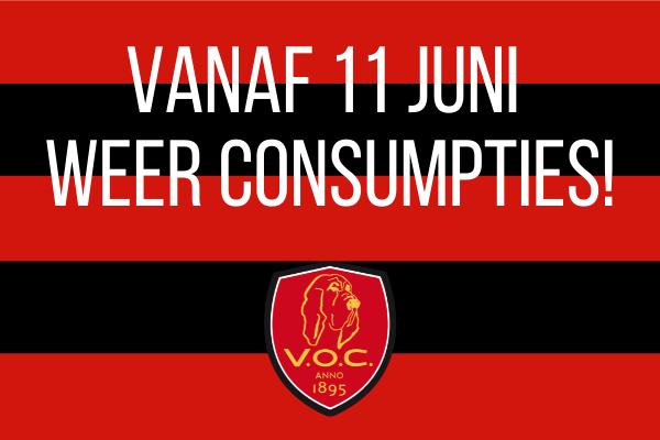 Vanaf 11 juni weer consumpties op V.O.C. !