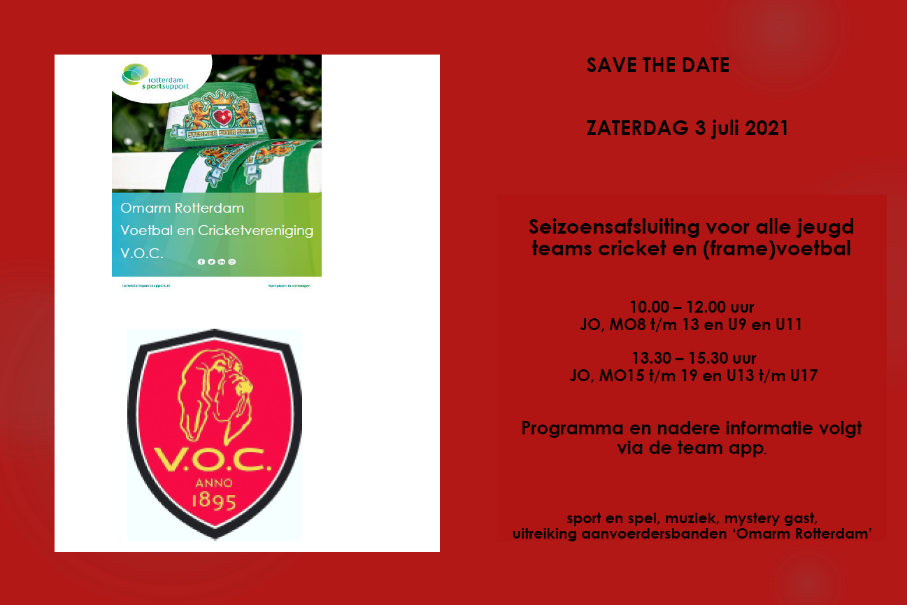 SAVE THE DATE: ZATERDAG 3 juli 2021