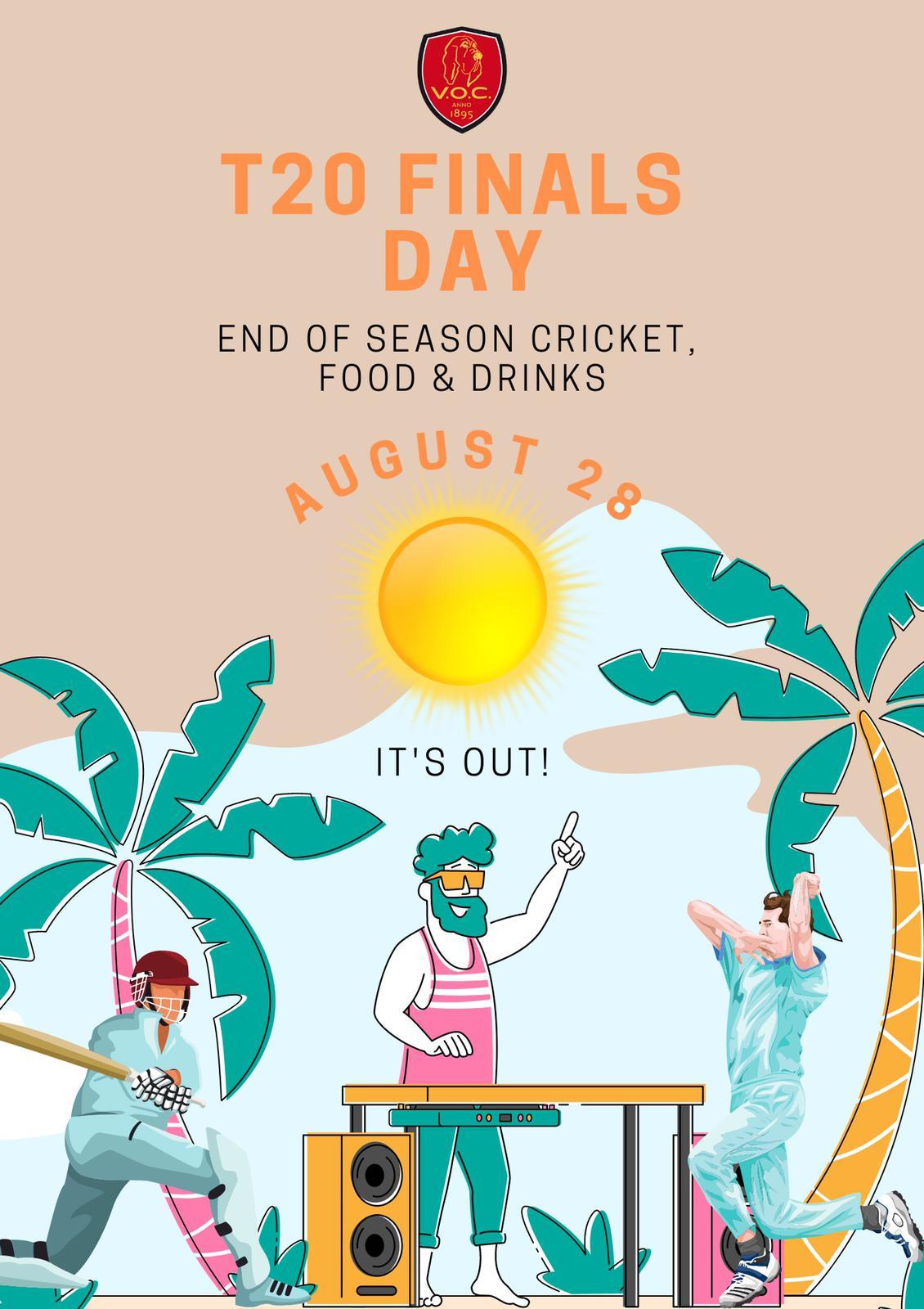 T20 Finaledag op V.O.C. zaterdag 28 augustus
